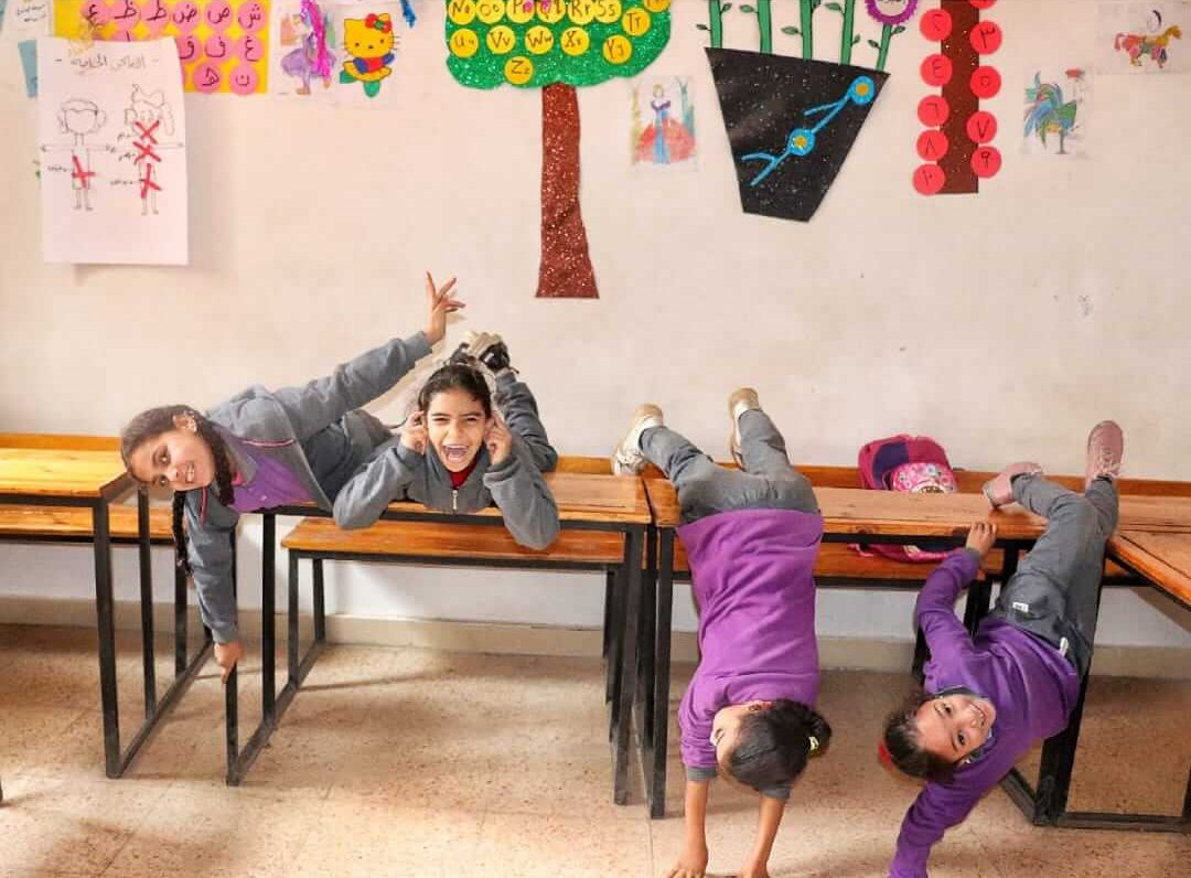 Girls playing in the class